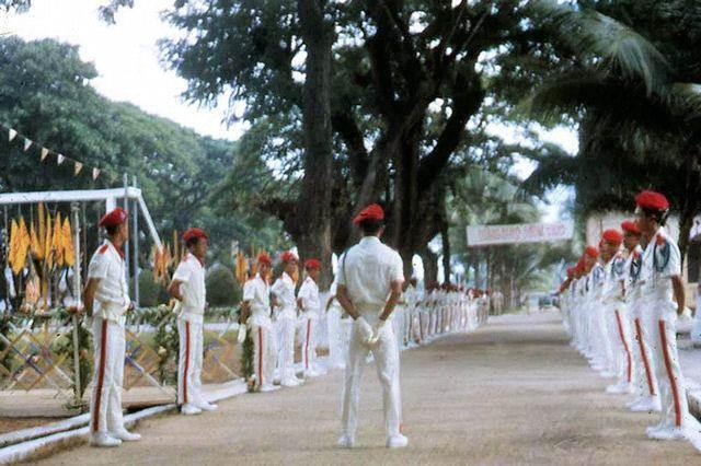 Đội Quốc Quân Kỳ của trường T.S.Q., tất cả T.S.Q. đều được mặc quân phục đại lễ.