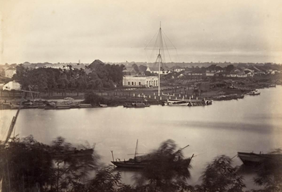 Cột cờ Thủ Ngữ năm 1866, một năm sau khi xây dựng xong. Ảnh: Tư liệu.