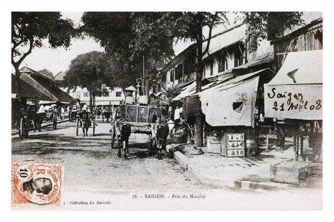 Mặt sau của chợ Bến Thành cũ trên Hồ Tùng Mậu hiện nay năm 1908.