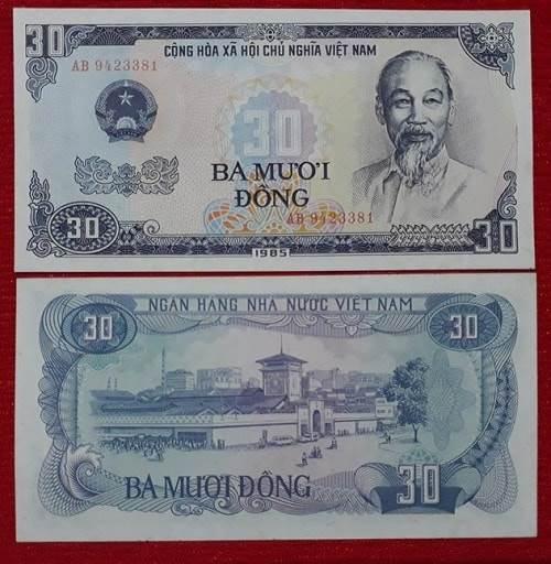 Tờ tiền 30 đồng được phát hành vào 1985 với mặt trước là chân dung Chủ Tịch Hồ Chí Minh còn mặt sau là chợ Bến Thanh