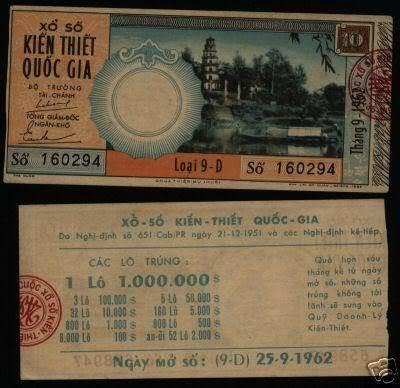 Tờ vé số ngày 25/09/1962