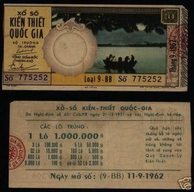 Tờ vé số tháng 11/9/1962