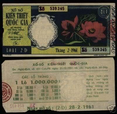 Tờ vé số tháng 2/1961