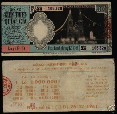 Tờ vé số tháng 12/1961