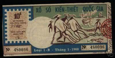 Vé số tháng 1/1960 có giá 10 đồng