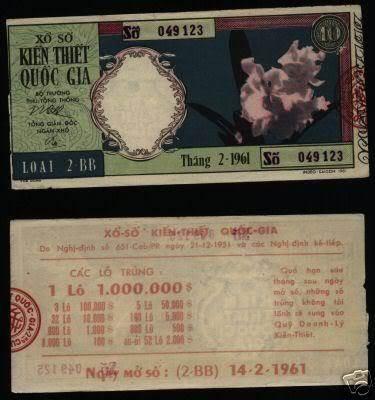 Tờ vé số ngày 14/02/1961