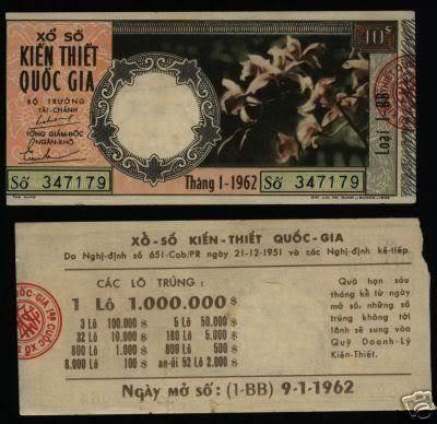 Tờ vé số ngày 09/01/1960