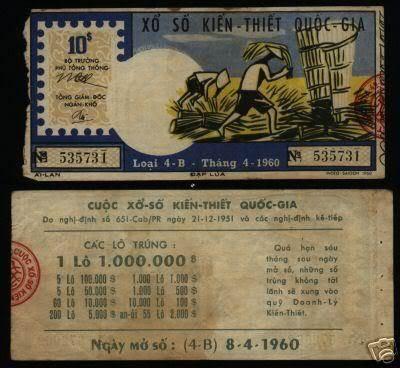 Tờ vé số ngày 08/04/1960