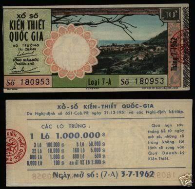 Tờ vé số ngày 03/07/1962