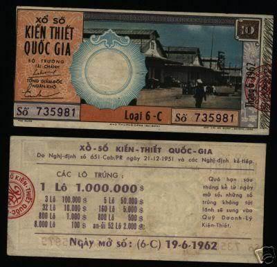 Tờ vé số ngày 19/6/1962