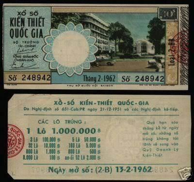 Tờ vé số tháng 2/1962