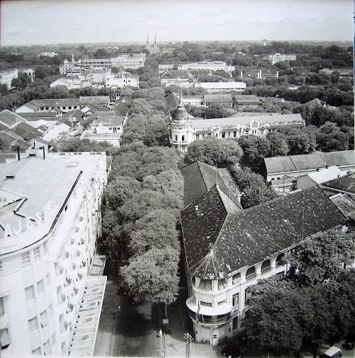 Đường Tự Do - nay là Đồng Khởi được chụp trên cao với hàng cây xanh mát