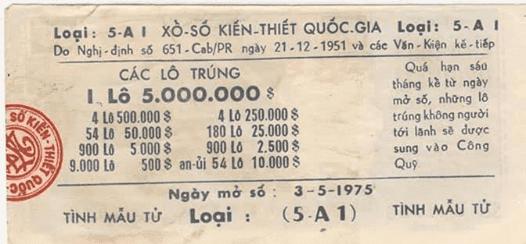Tờ vé số ngày 3/4/1975 chưa kịp xổ